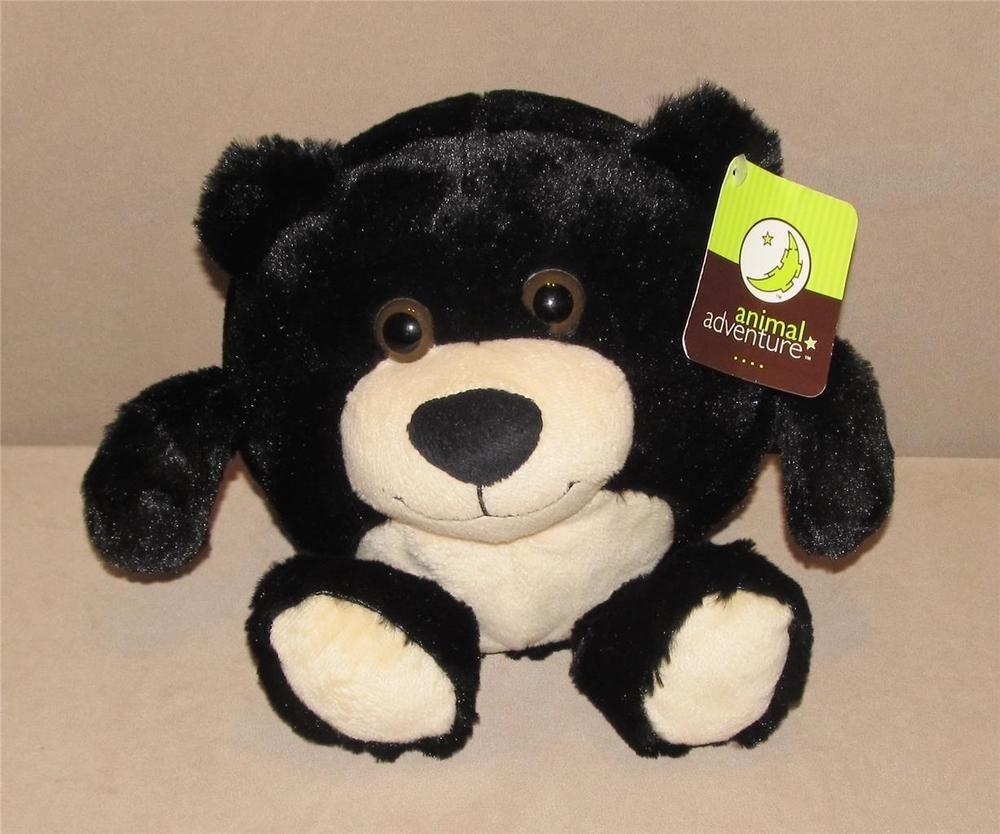 Animal Adventure Black Cream Round Ball Bear Plush Stuffed Animal