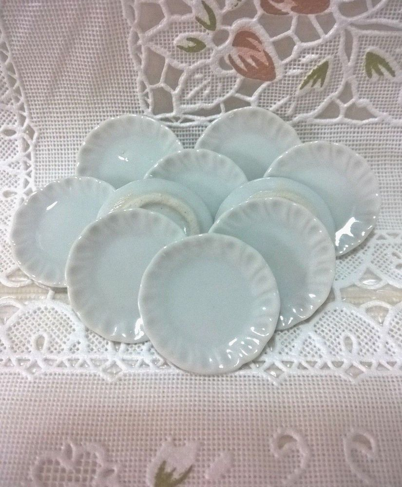 10 Pink Edge Plates Dish Ceramic Dollhouse Miniatures Cookware /&Tableware Decor