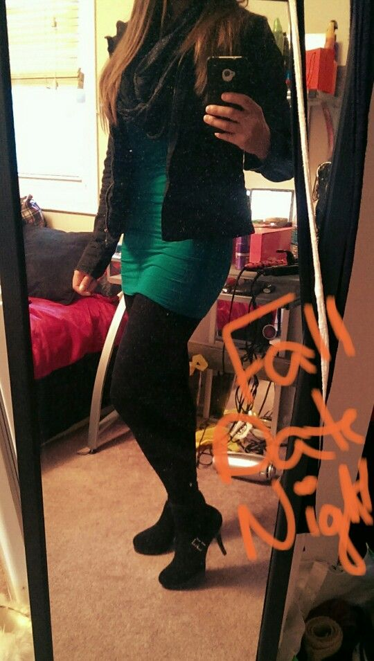 Cute date night / going out outfit for fall! Black tights with stiletto ankle booties, black infinity scarf and jacket with a pop of green!  Warm outfit, but still sexy, without showing to much skin!