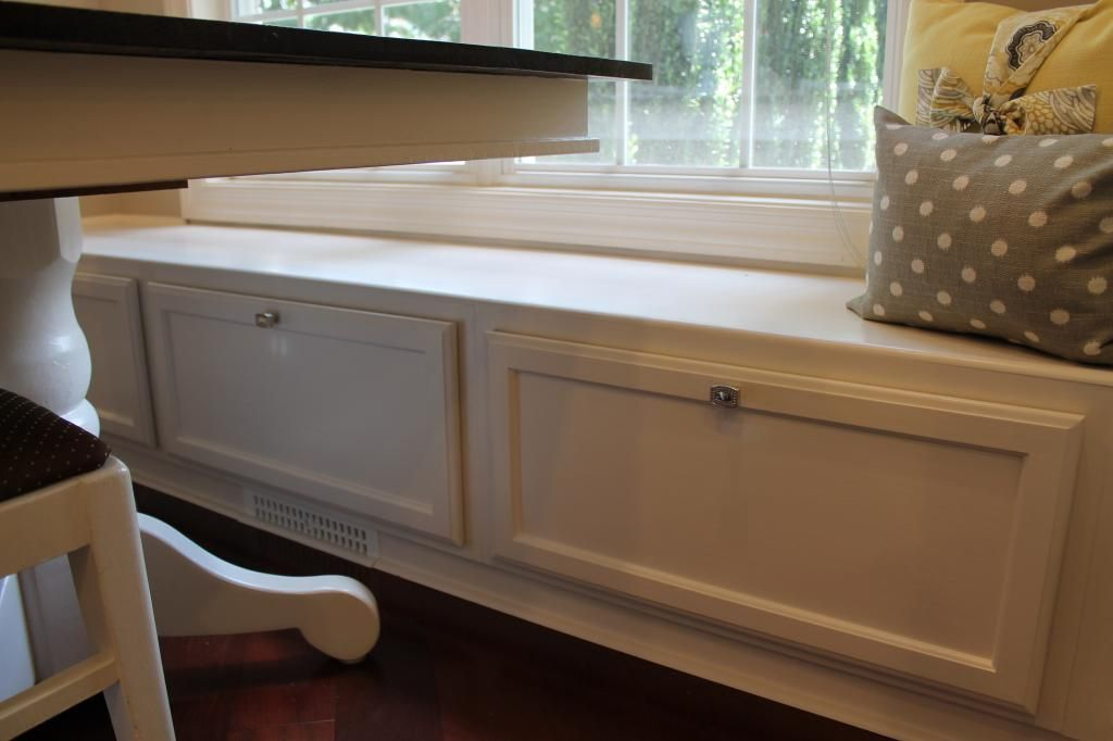 The Banquette Is Made Of Three Single Upper Cabinets Turned On