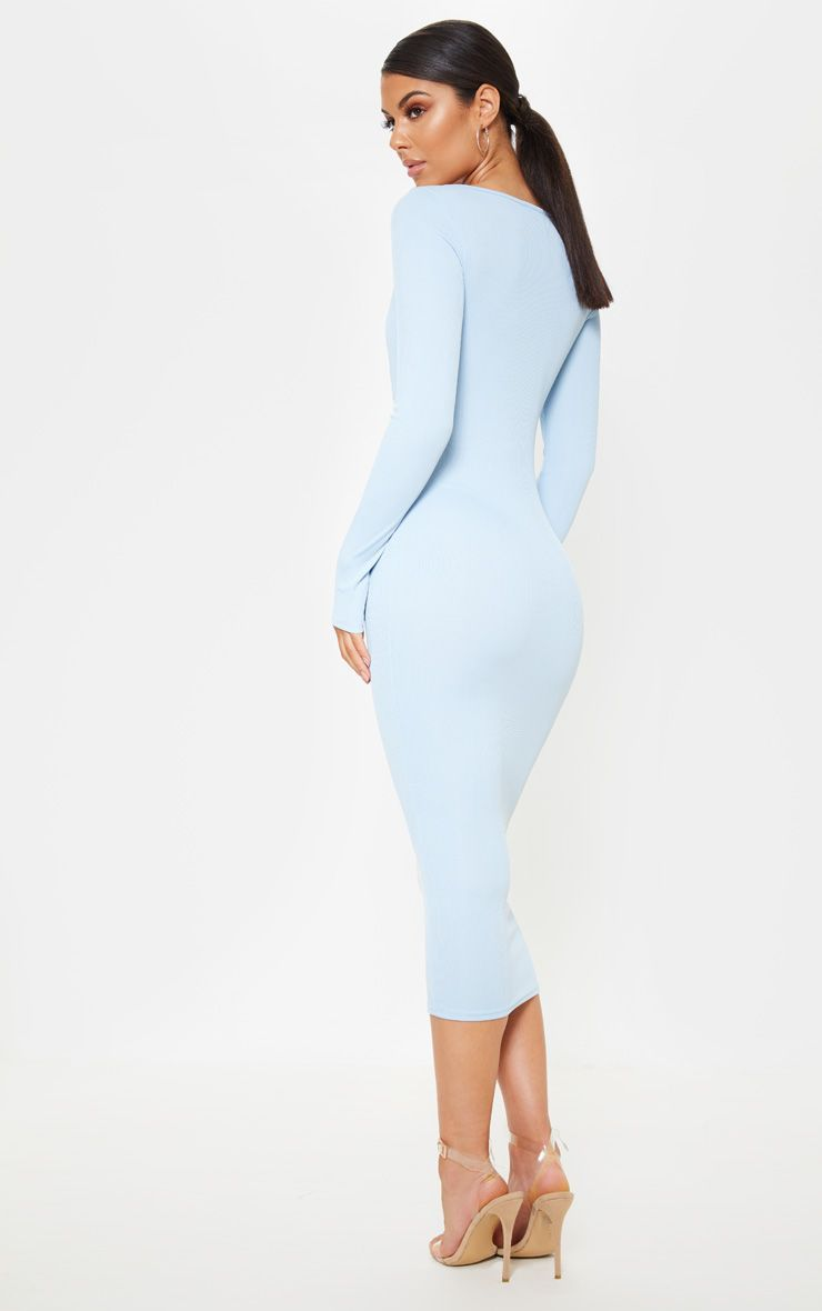 Baby Blue Ribbed Long Sleeve Cup Detail Midi Dress Dresses Blue Long Sleeve Dress Midi Dress [ 1180 x 740 Pixel ]