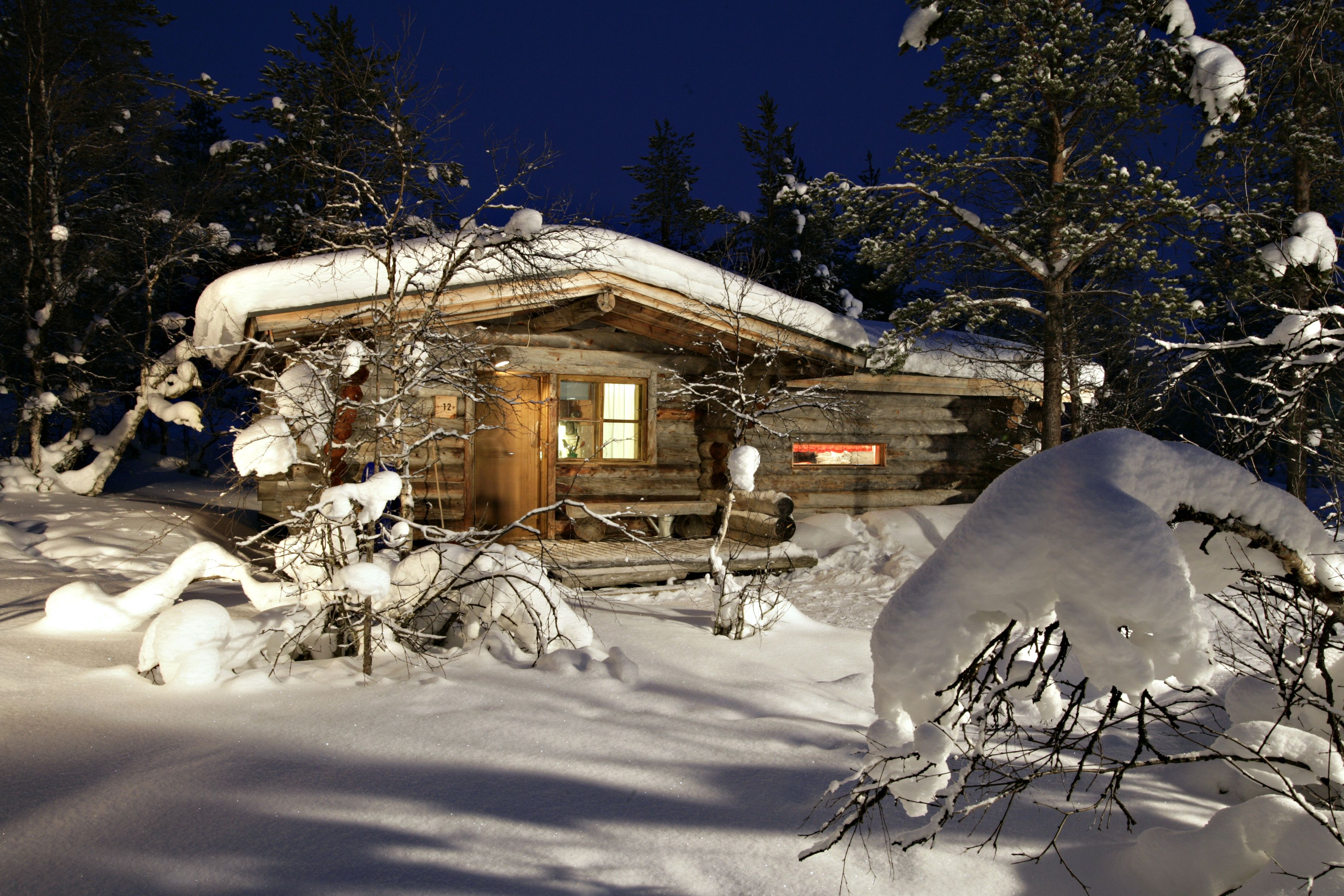 Cabin Covered In Snow Traditional Log