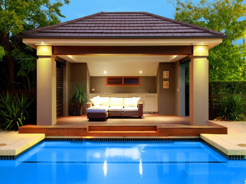 In Ground Pool Design Using Stone With Cabana U0026 Decorative Lighting   Pool  Photo 161999