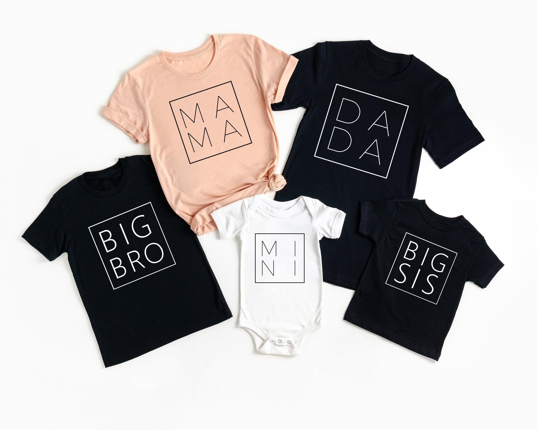 Dada-Mama-Sis-Bro-Mini Custom Matching Shirt for Fam/ Father's Day personalized gift/ New Daddy & Mom life custom Tee/ Family Graphic Tee #dadmomgiftshirt #fathersdayshirt #newdaddygift #unisexcustomgift #familyapparelshirt #matchingfamilytee #momlifeshirtgift #dadamamatshirt #bigbrosisgift #personalizedmomtee #bestdadshirt #newdadmomgift #minibabybodysuit