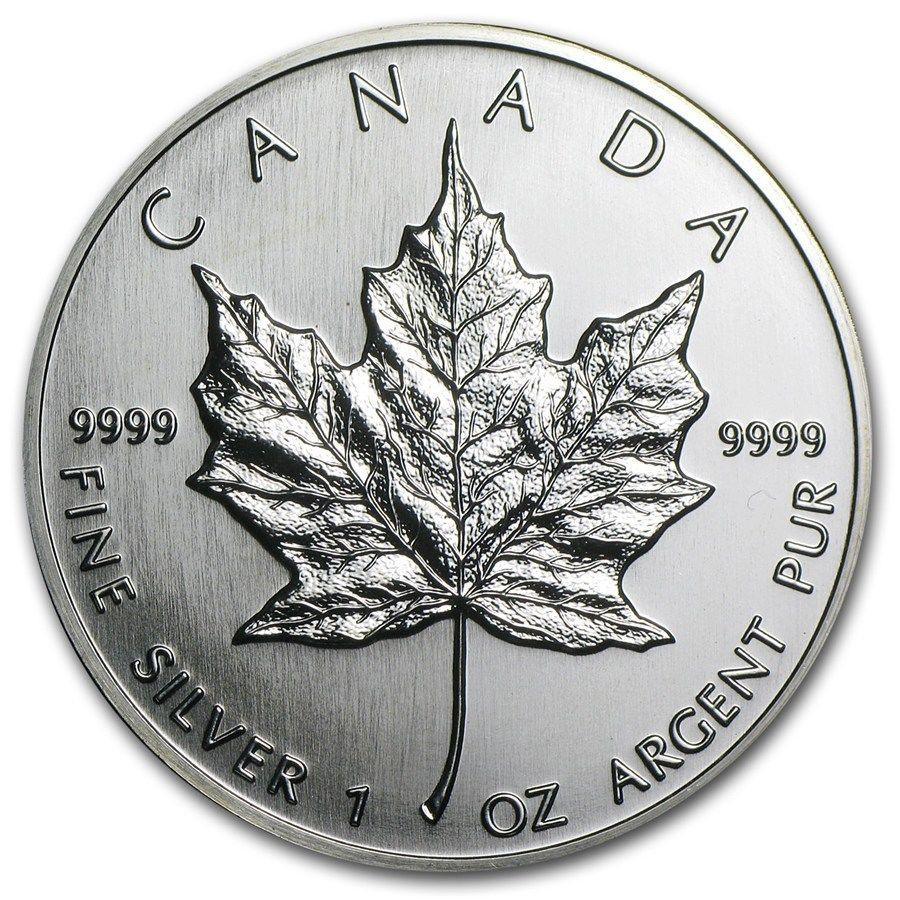 1990 Canada Silver Maple Leaf 5 Coin 1 Oz 9999 Fine Silver Purest Silver Silver Maple Leaf Gold And Silver Coins Silver Bullion Coins