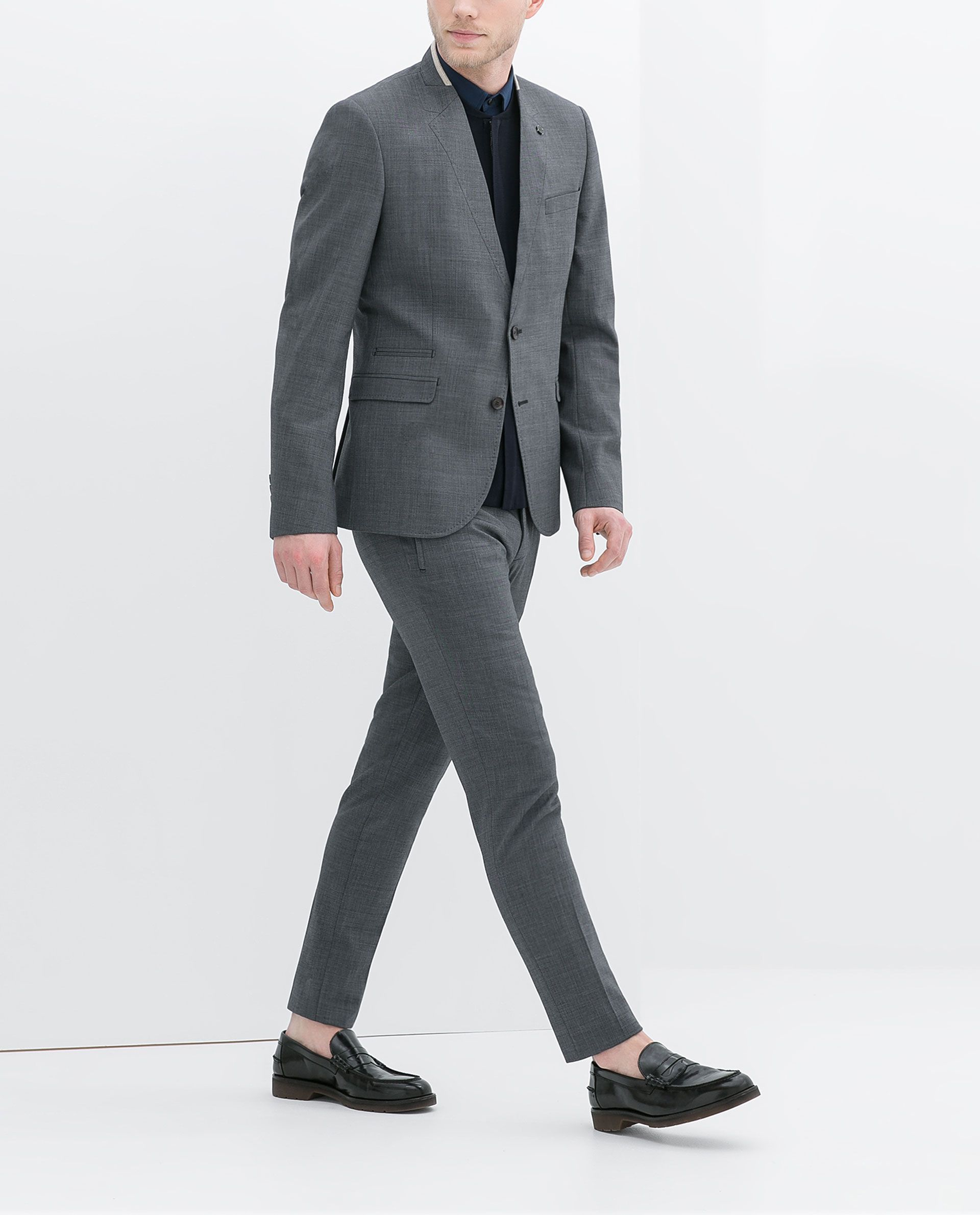 Zara Blazer with Detailed Lapel in Gray for Men (Grey) | Lyst
