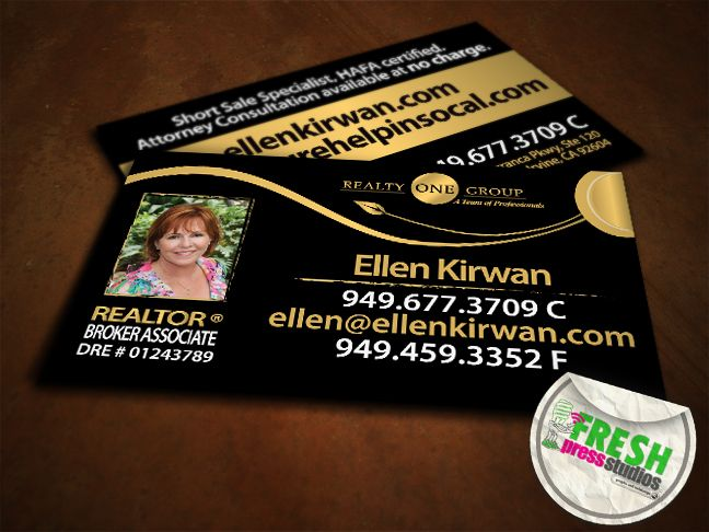 Business Cards Designed For Ellen Kirwan Of Realty One Group Located In Irvine Ca