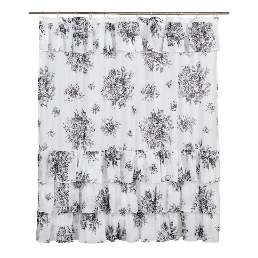 Josephine Black Shower Curtain Toile Black White Floral Ruffle French Country Vhcbrands Black Shower Curtains Primitive Shower Curtains Rustic Shower Curtains