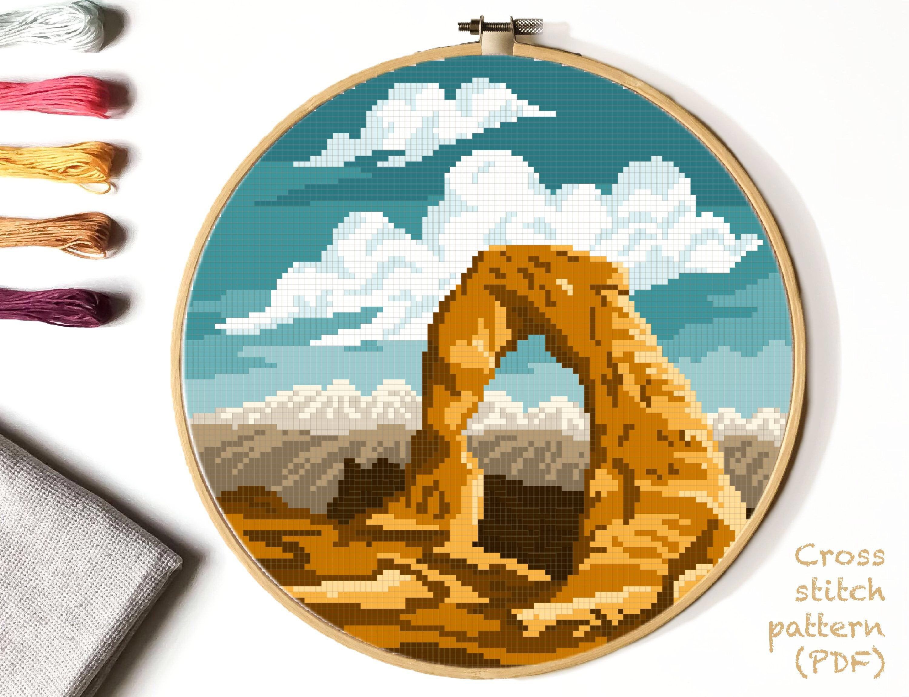 Photo of Arches  national park  Modern Cross Stitch Pattern, nature counted cross stitch chart, landscape, mountains, instant PDF