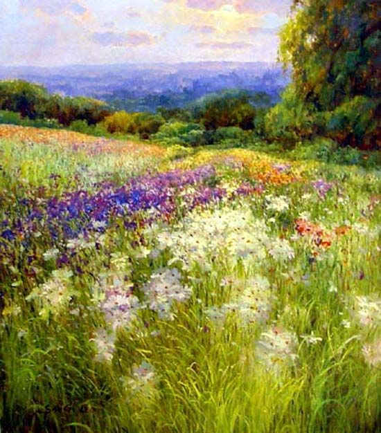 Charmant Garden+Oil+Paintings | Flower Garden Paintings