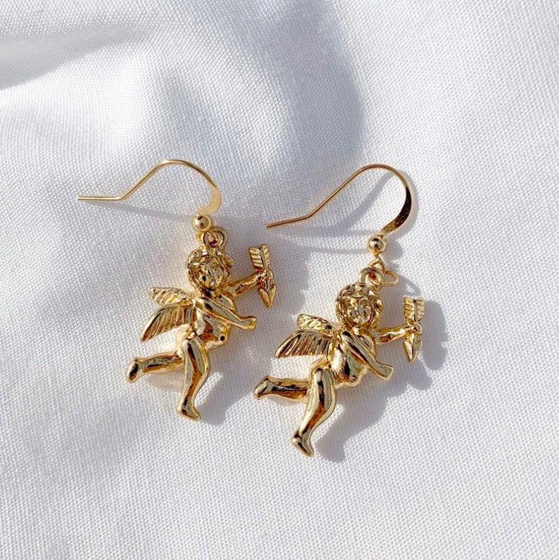 Angel Cupid Resin Handmade Earrings Gold Plated Hook
