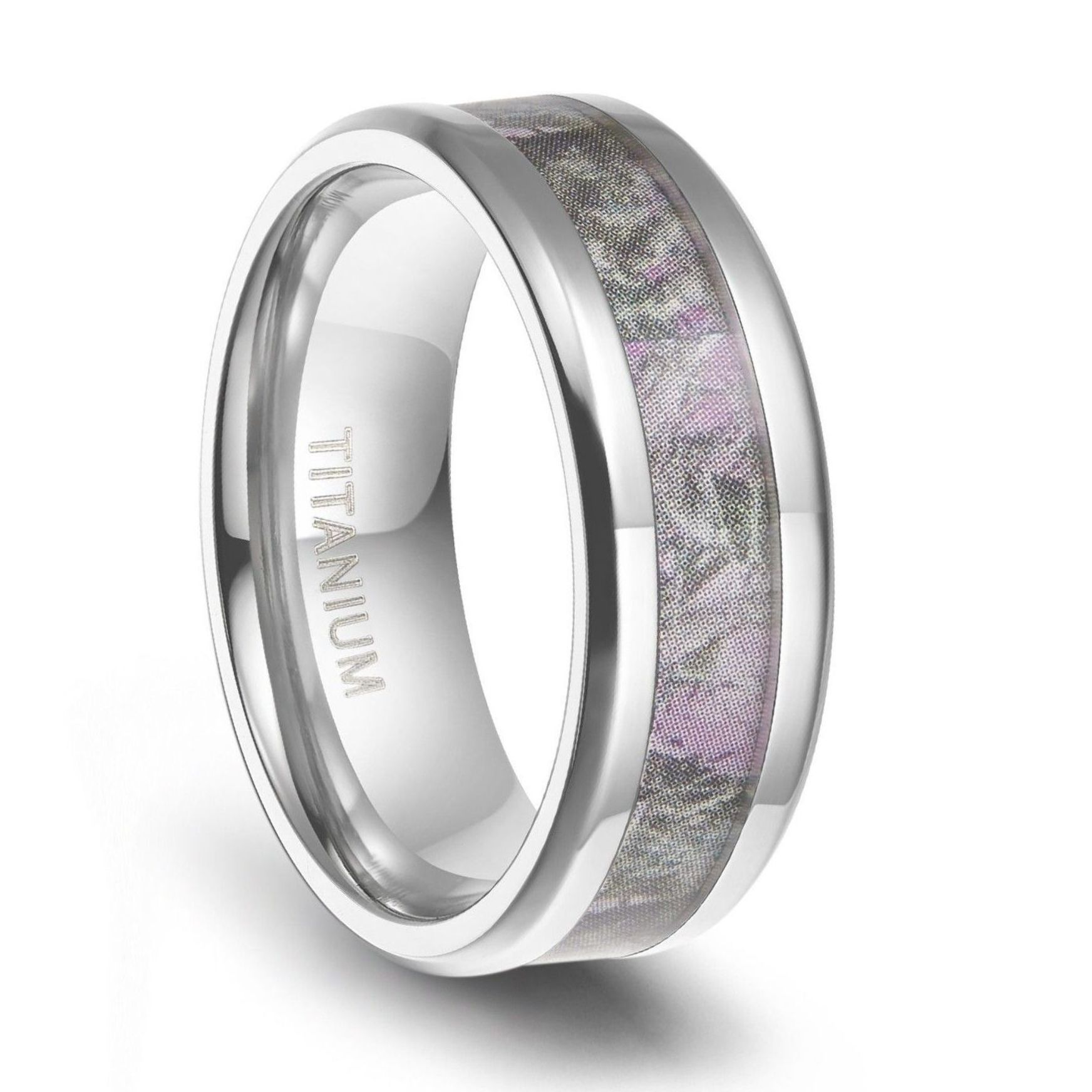 Titanium Camo Rings Pink Engagement Rings for her Pink