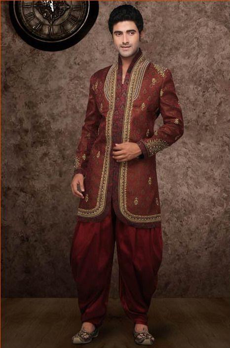 Rust Brocade Readymade Indo Western #Suit @ $404.21 | Indian Men\'s ...