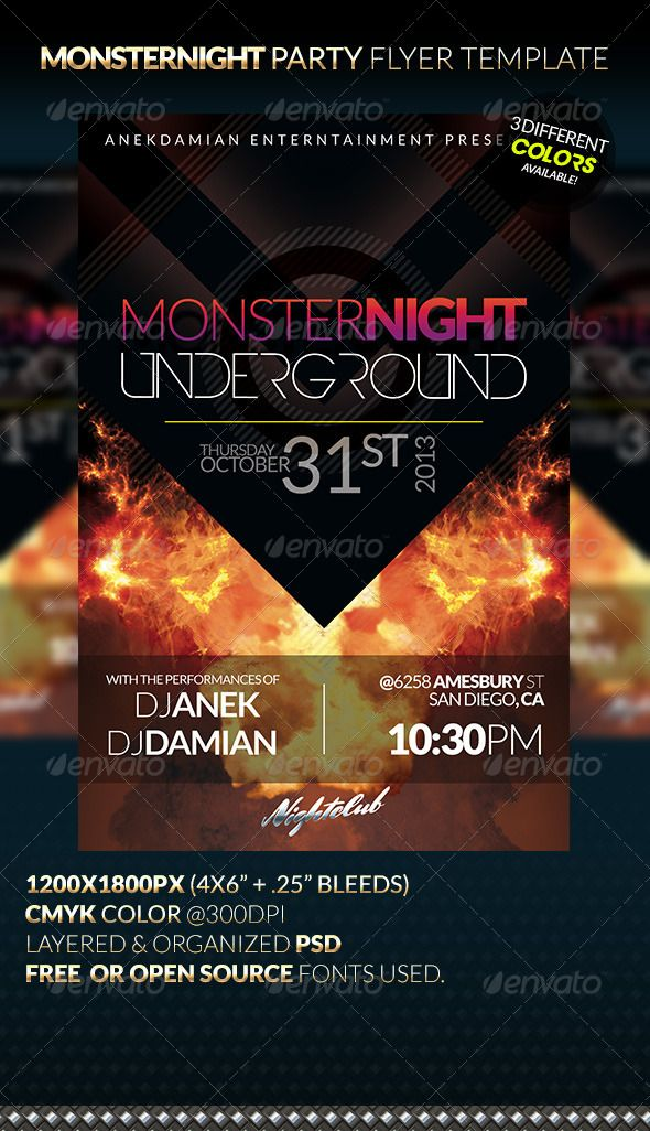 Monsternight Party Flyer Template Party Flyer Flyer Template And