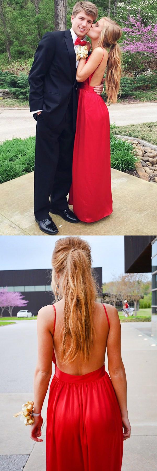 Aline spaghetti straps red floorlength stretch satin backless prom
