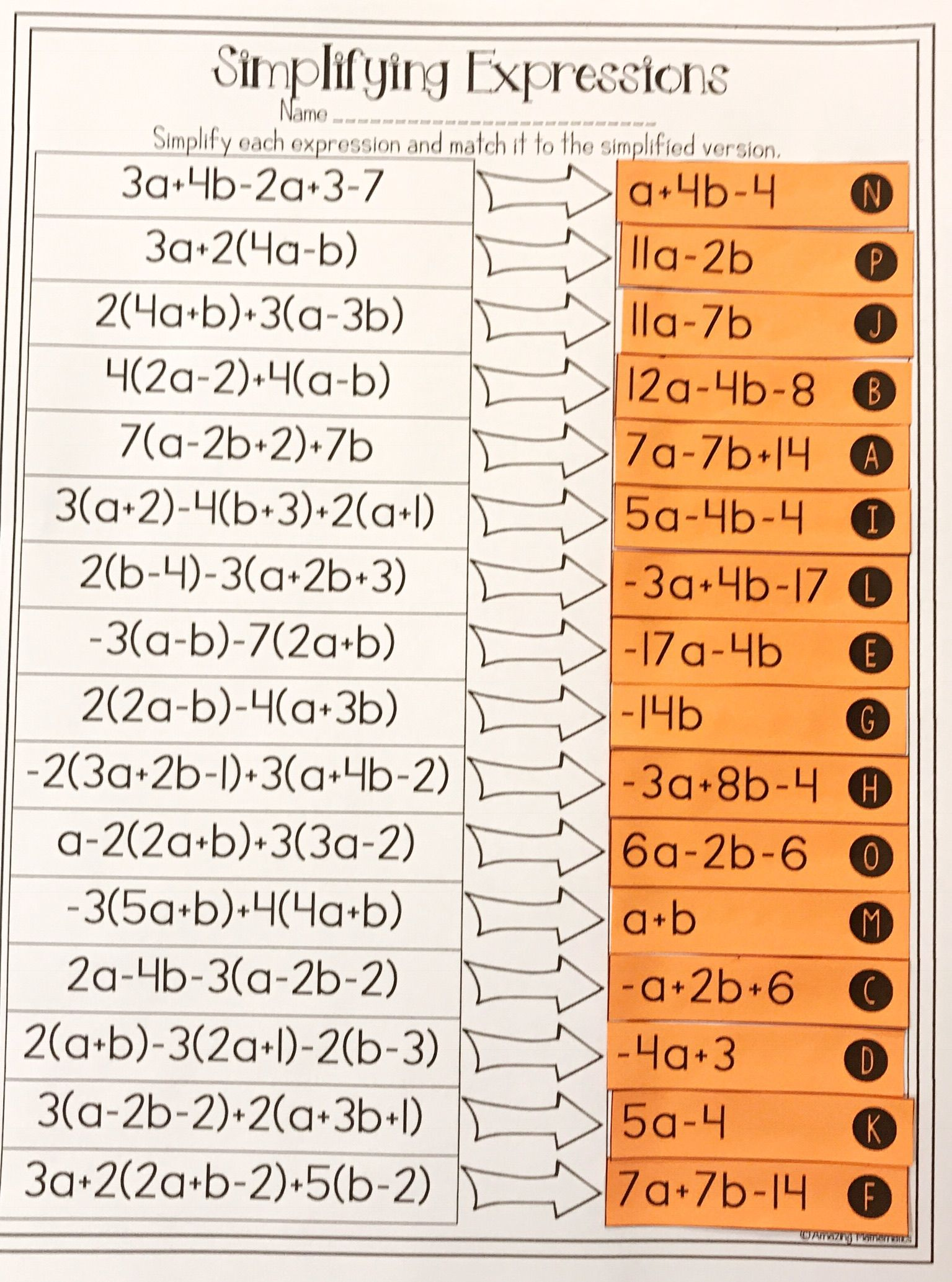 This combining like terms algebra 1 activity is the perfect worksheet  alternative to teach studen…   Simplifying expressions [ 2066 x 1535 Pixel ]