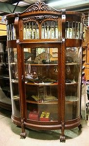 Antique Oak China Cabinet W Claw Foot Lion Head Beveled Lead Curved Glass
