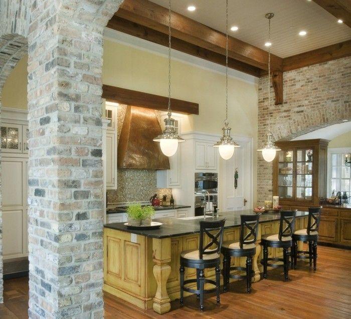wohnideen küche backsteinwand und hölzerne akzente Küche Möbel