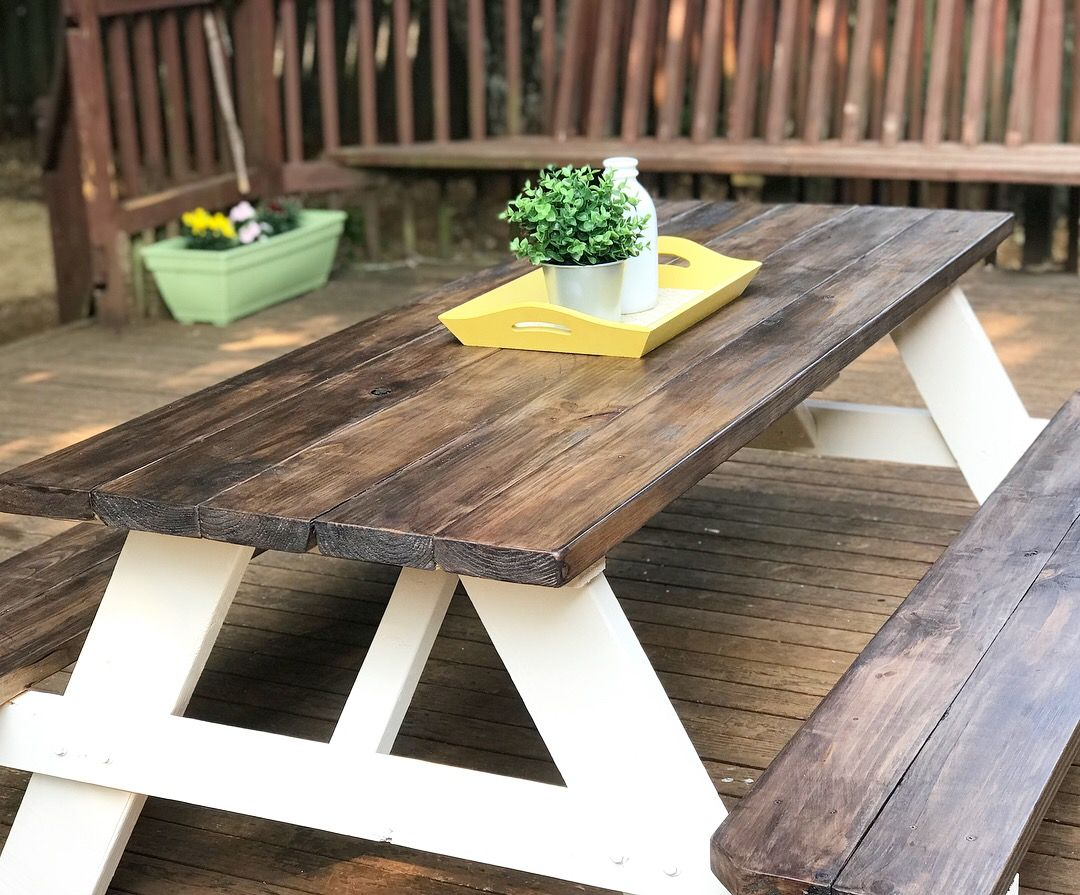A 98 00 Unfinished Picnic Table From Lowes Turned Beautiful In 3