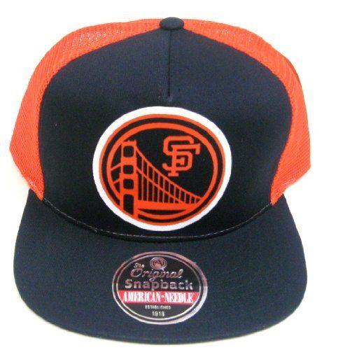 2a86bc780fef5c MLB American Needle San Francisco Giants Vintage Gatekeeper Flat-Billed  Mesh Back Black Snapback Cap