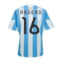 Argentina Home 2009 / 2010 with Aguero and 16 printing  Probably the prettiest football kit ever!  and just £45    Footballstop.co.uk