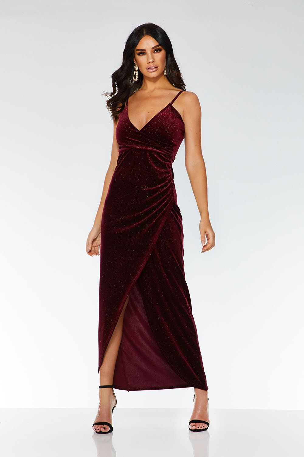 8ee56658 Wine Glitter Velvet Wrap Dress in 2019 | halfway there ball ...