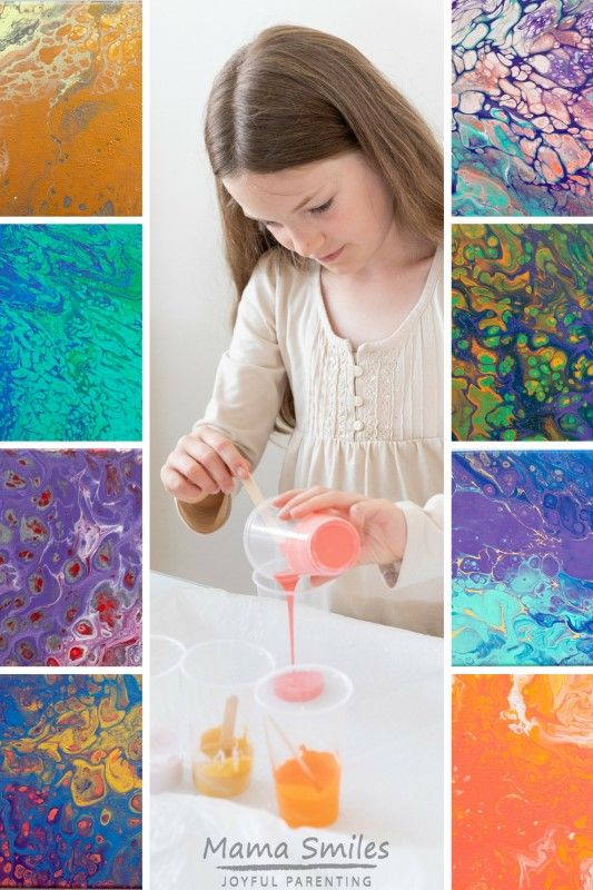 How to Pour Paint Acrylic Pour Painting Techniques is part of Little Kids Crafts Art Projects - Acrylic pour painting techniques tutorial  I especially like the details on how to make this amazing art project work with a bunch of kids!