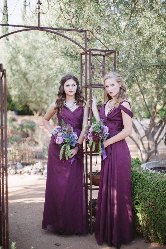 """""""Romantic Plum Colored Fall Bridal Shoot"""" featured on Fab You Bliss. Bridal gown and bridesmaids dresses all from Mary Me Bridal, styled by Hope Stanley. Manya Photography."""