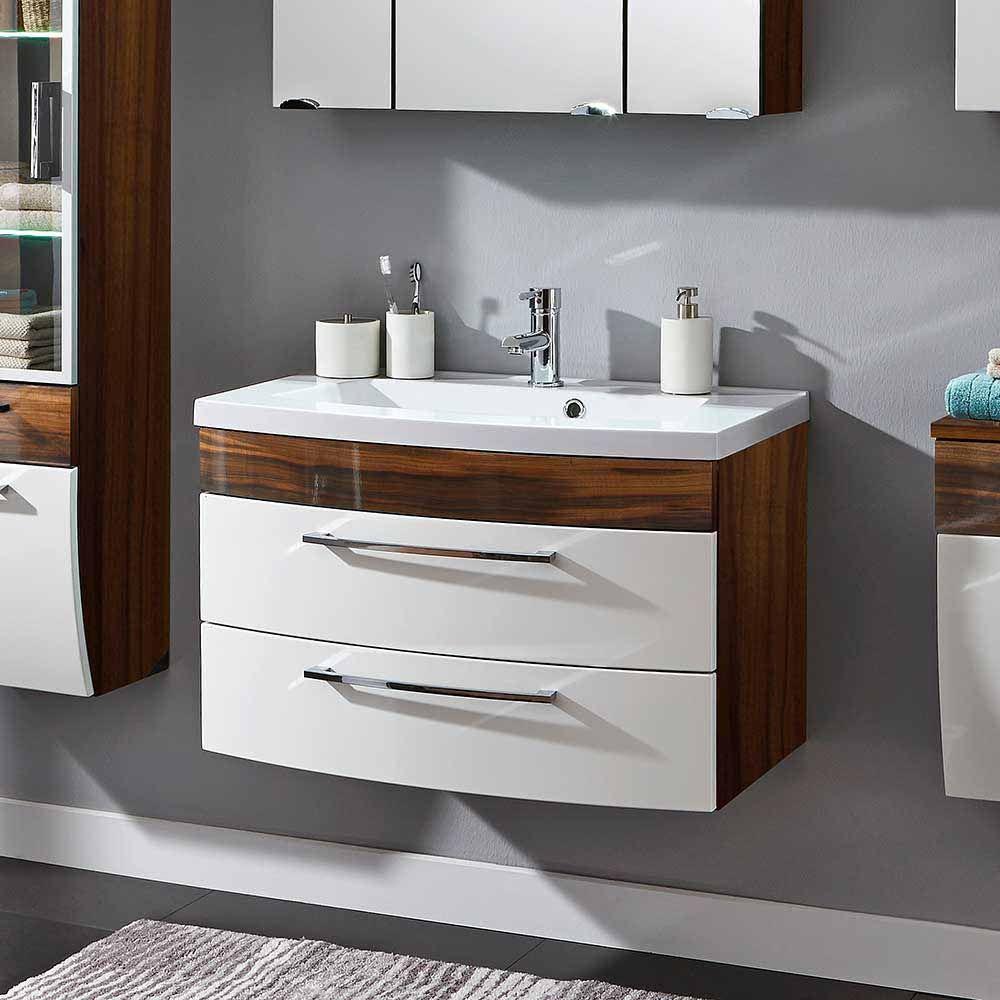 Badezimmer Waschbeckenschrank In Weiss Hochglanz Walnuss 2 Schubladen Exklusive Mobel Kaufen Badezimmer In 2019