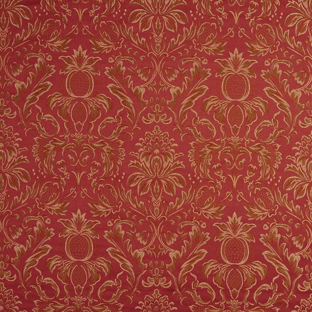 Gold Purple And Green Floral Pineapple Damask Upholstery Fabric