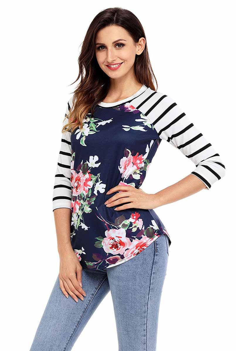 8cc3898bb2ae6 Women's #navy 3/4 long sleeve #TShirts flower pattern print, stripe, Curved  hem, casual, leisure.