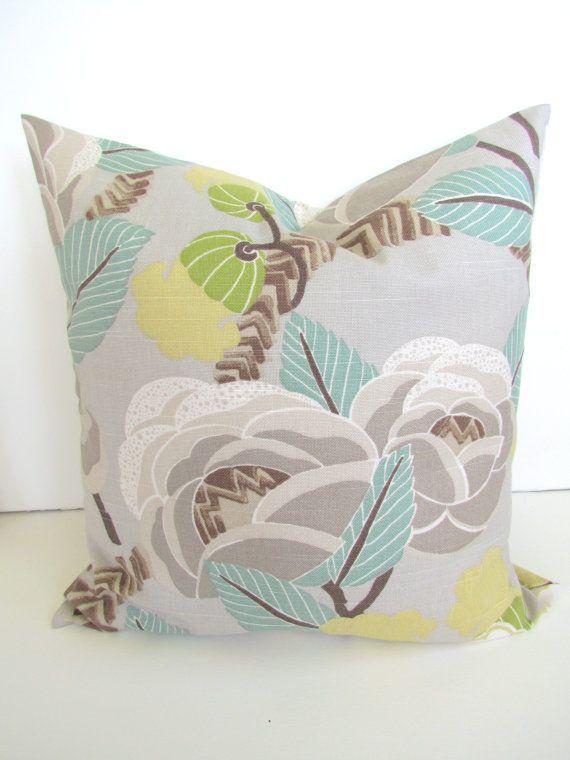 Tan Gray and Aqua Throw Pillows | Throw