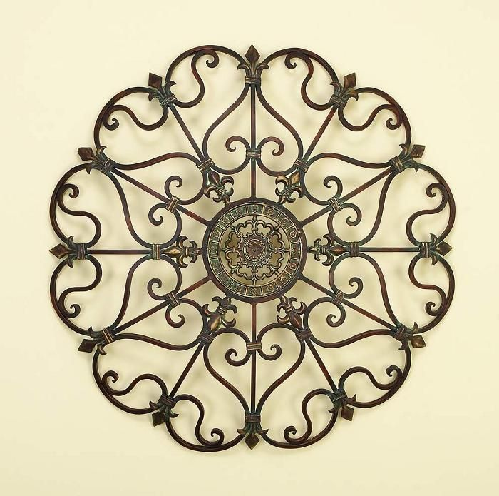 Round Brushed 3D Relief Metal Wall Art - Scroll With Center Medallion