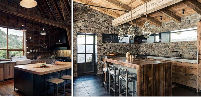 Cocinas rusticas para una casa en la montaña   Cocinas oscuras ...