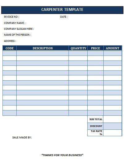 25 Professional Carpenter Invoice Templates Demplates Invoice Template Templates Free Receipt Template