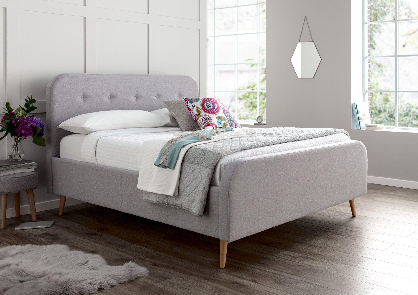 Stockholm Grey Upholstered Bed Frame Upholstered Beds Beds
