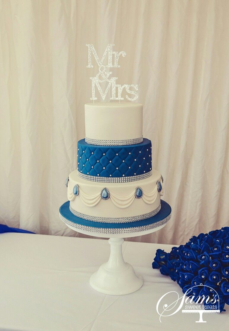 Royal blue, cream and a bit of bling! Wedding cake by Sams Sweet ...