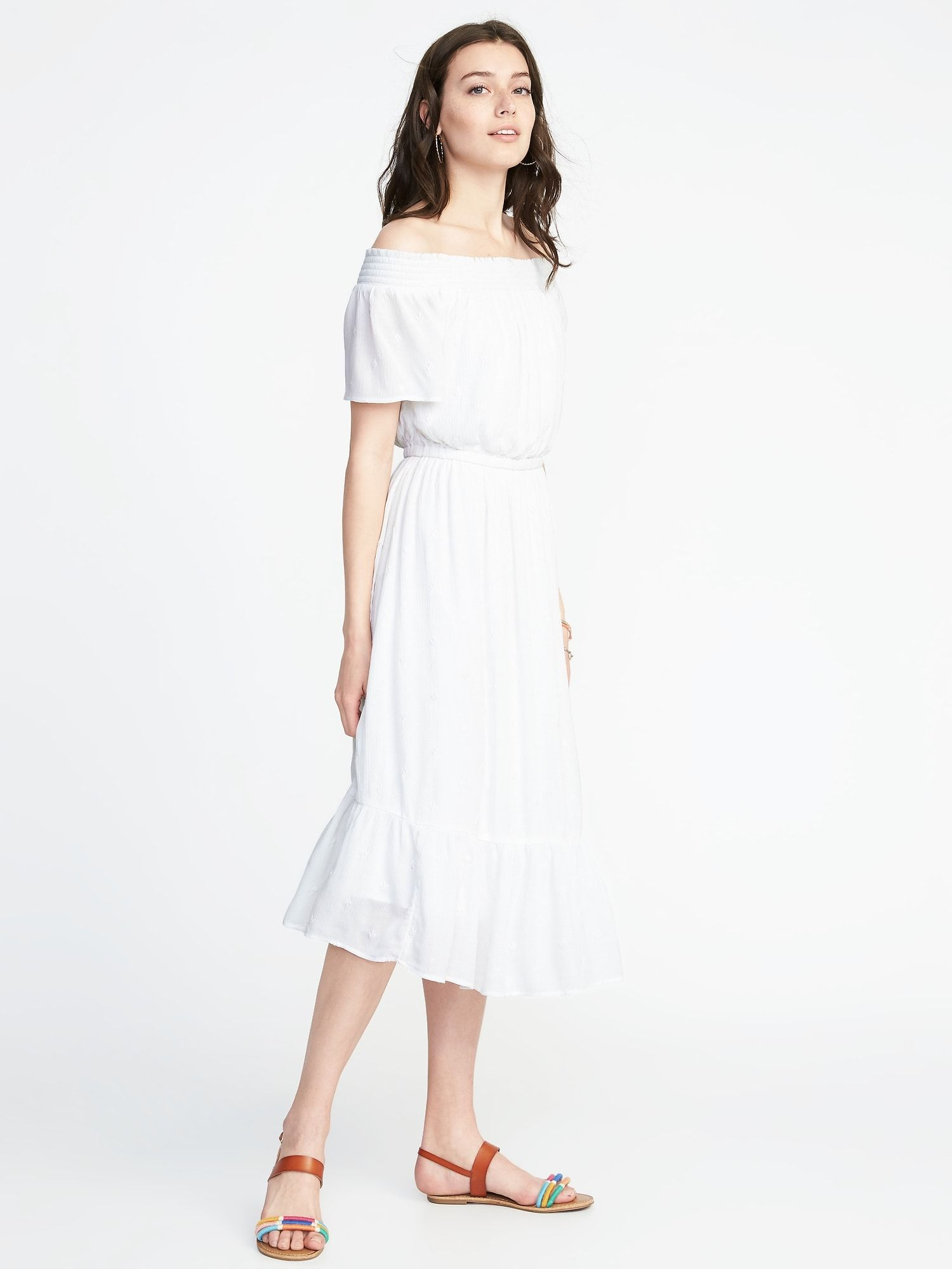 4b444741f15b Waist-Defined Off-the-Shoulder Crinkle-Gauze Midi Dress for Women in ...