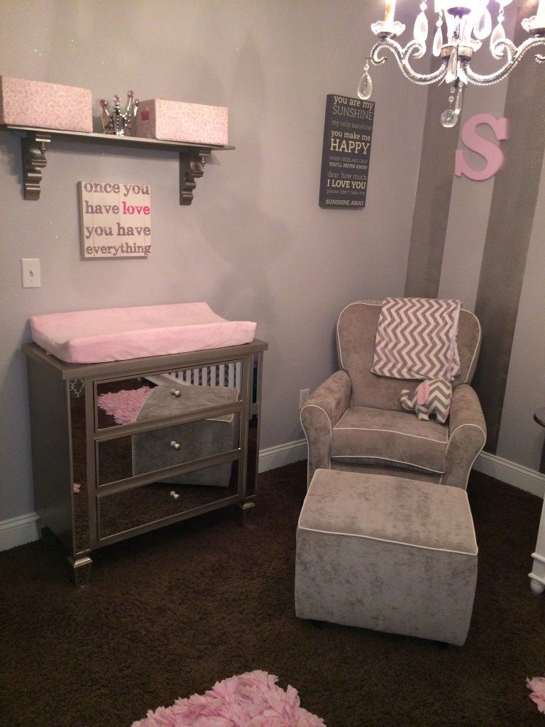 Project Nursery Gray Glider With White Piping And Ottoman
