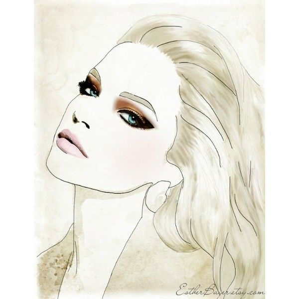 French Vogue Paris Fashion Illustration Drawing Fine Art Print ❤ liked on Polyvore