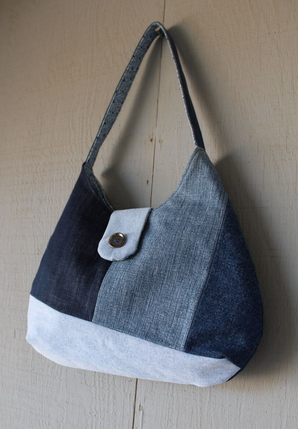 Geometric Patch Denim Handbag with Front Magnetic Snap