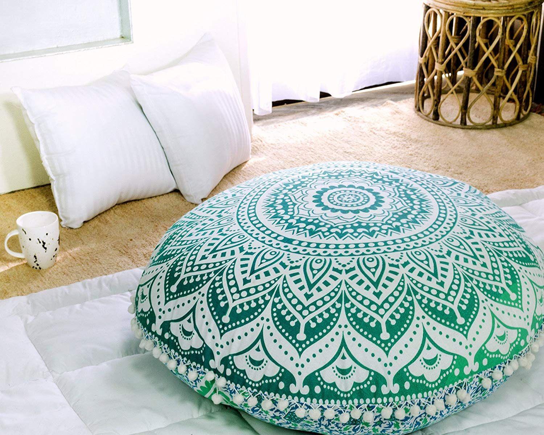 Hippie Mandala Sea Green Ombre Mandala Round Floor Pillow Cover 32 Inch Dog Pet Bed Large Floor Pillows Floor Pillows Cushions