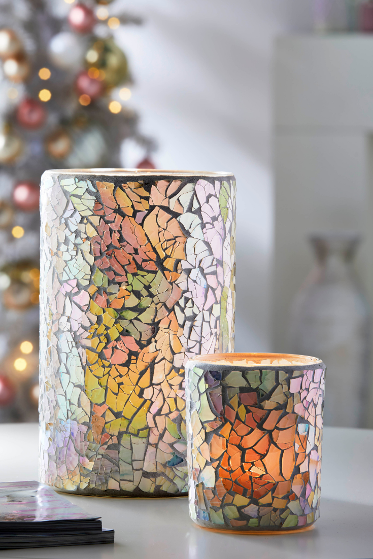 Iridescent Blush Mosaic Glass Collection Mosaic Glass Candle Inspiration Partylite