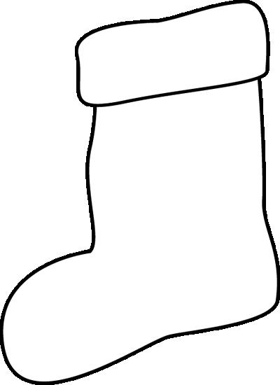 Black and White Stocking Clip Art - Black and White ...