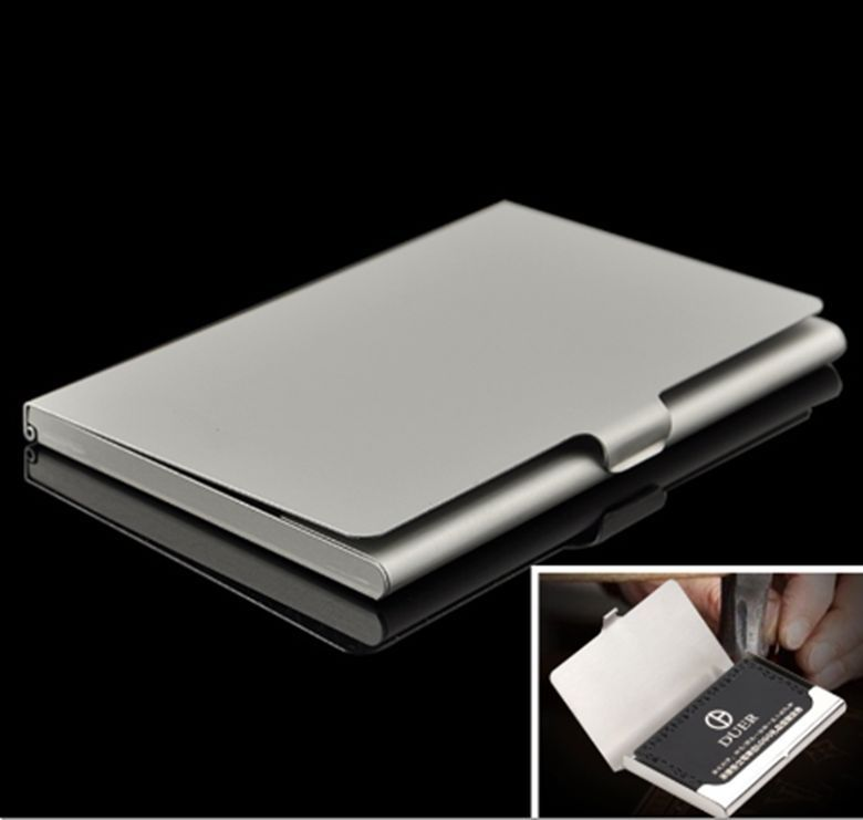 Stainless Steel Pocket Business Name Credit ID Card Box Holder Metal Box Case