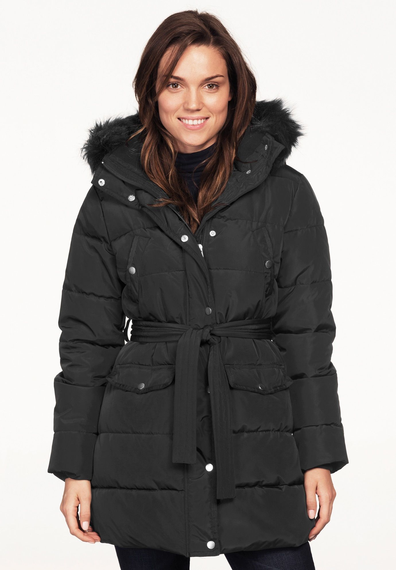 5808eace7c Belted Puffer Coat by ellos - Women s Plus Size Clothing