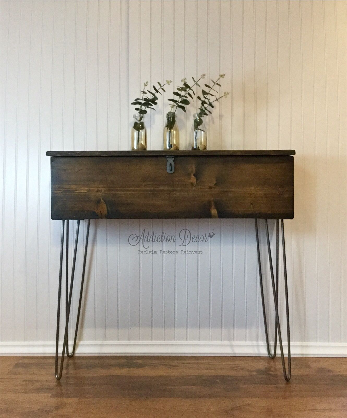 I Simply Cannot Pass Up A Vintage Wooden Tool Box A New Finish And Some Raw Steel Hairpin Legs L Repurposed Wooden Box Wooden Tool Boxes Wood Tool Box