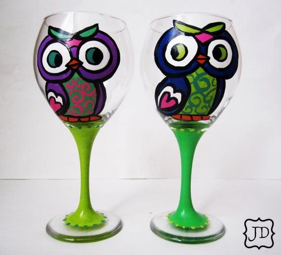 Owl cutie wine set  Hand painted  Goblet Wine glass  by Jdboutique, $36.00