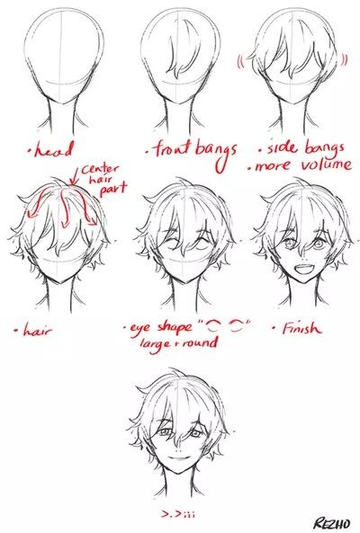 Pin By Xavier Loman On Building Face Drawing Male Hair Anime Drawings Manga Drawing Tutorials