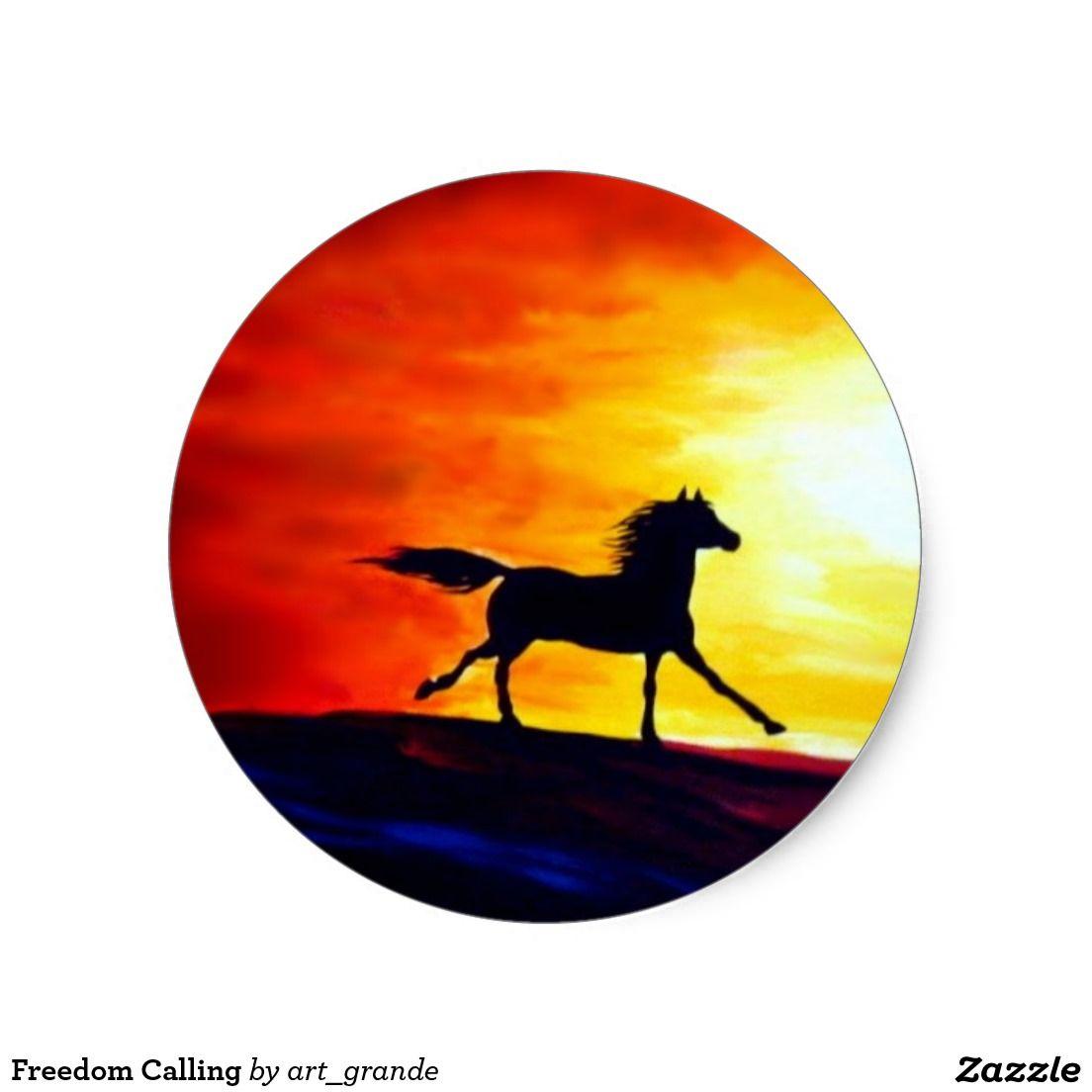 Freedom calling classic round sticker runde aufkleber ferrari logo elch kunst klassisch